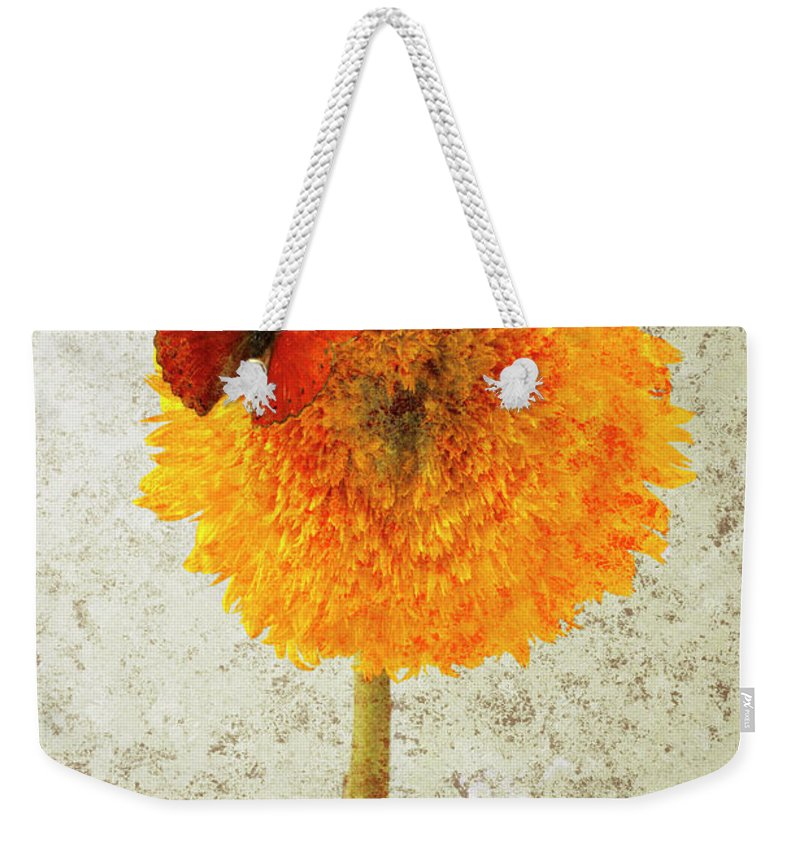Red Butterfly Sunflower Yellow Abstract Weekender Tote Bag featuring the photograph Sunflower And Red Butterfly by Garry Gay