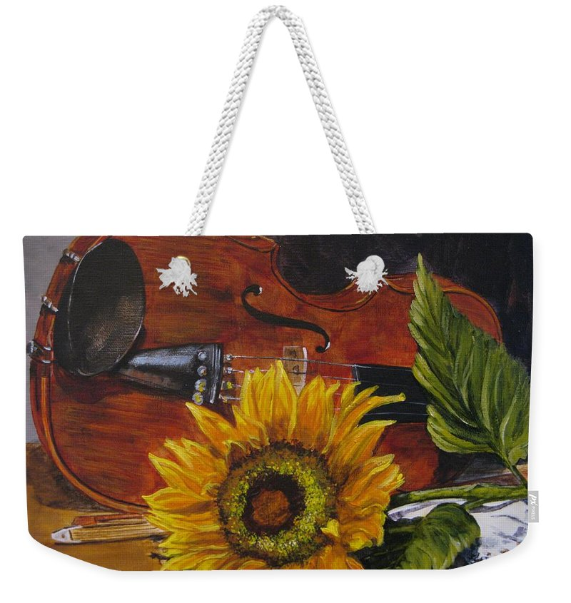 Judy Bradley Weekender Tote Bag featuring the painting Sunflower And Violin by Judy Bradley