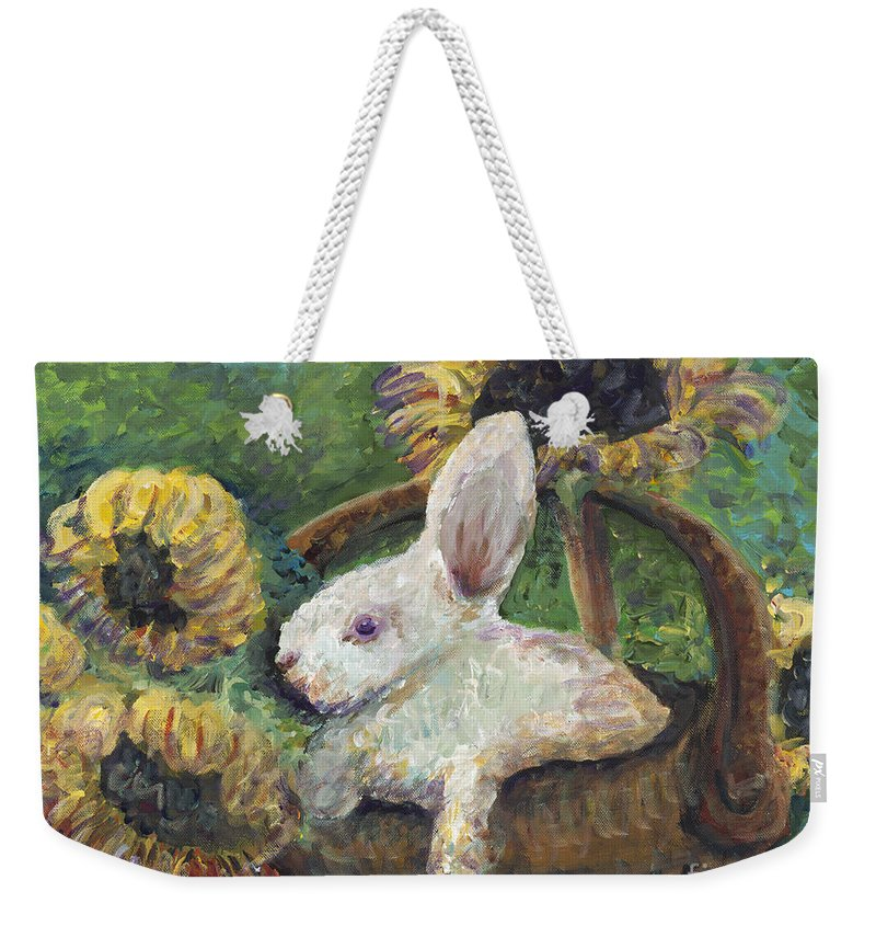 Sunflowers Weekender Tote Bag featuring the painting Sunflower Basket Surprise by Nadine Rippelmeyer