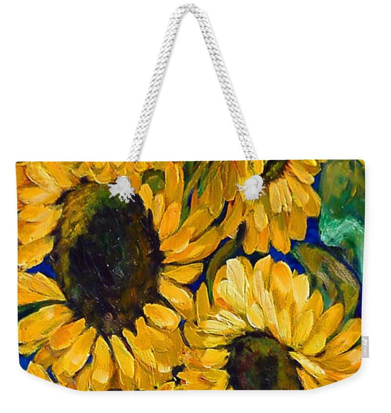Flowers Weekender Tote Bag featuring the painting Sunflower Faces by Beverly Boulet