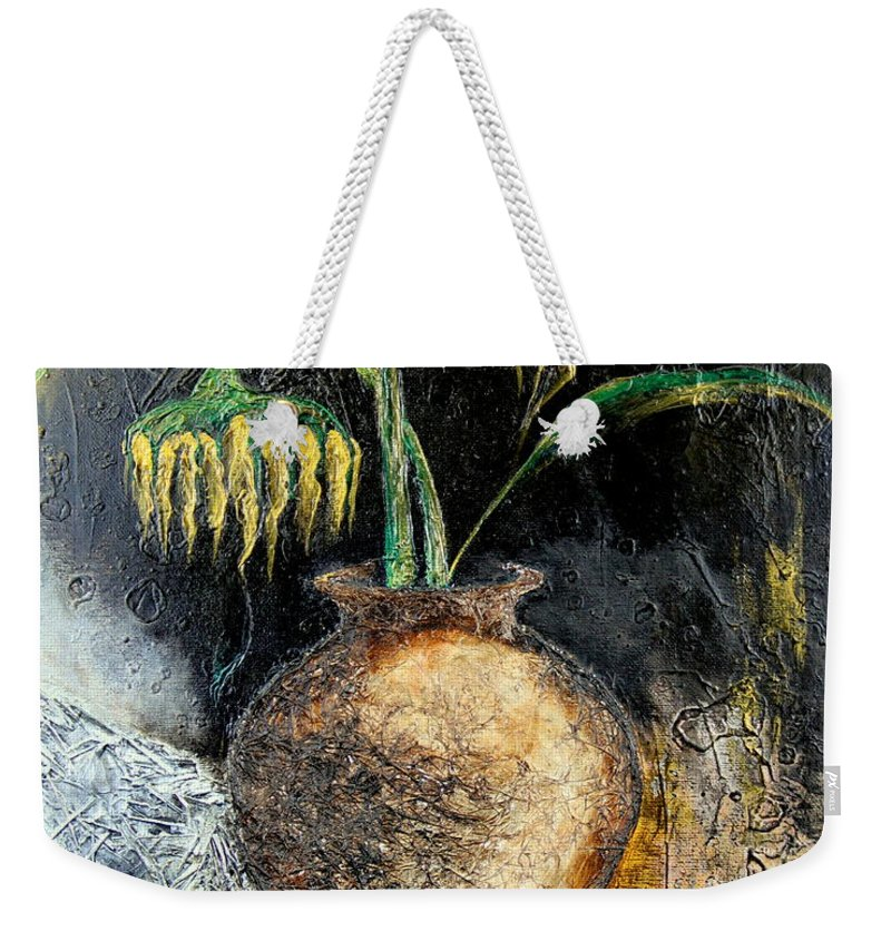 Sunflower Weekender Tote Bag featuring the painting Sunflower by Farzali Babekhan