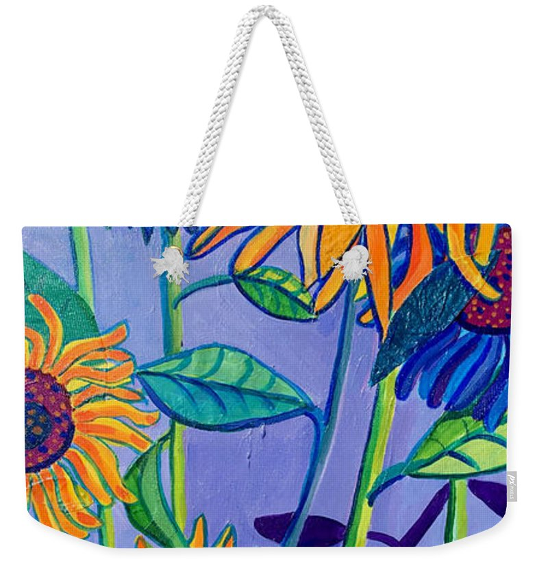 Sunflowers Weekender Tote Bag featuring the painting Sunflower Garden by Debra Bretton Robinson