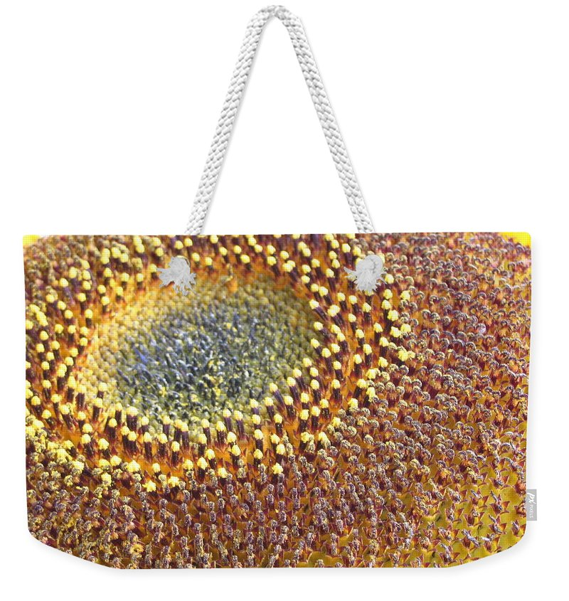 Sunflower Weekender Tote Bag featuring the photograph Sunflower Heart by Line Gagne