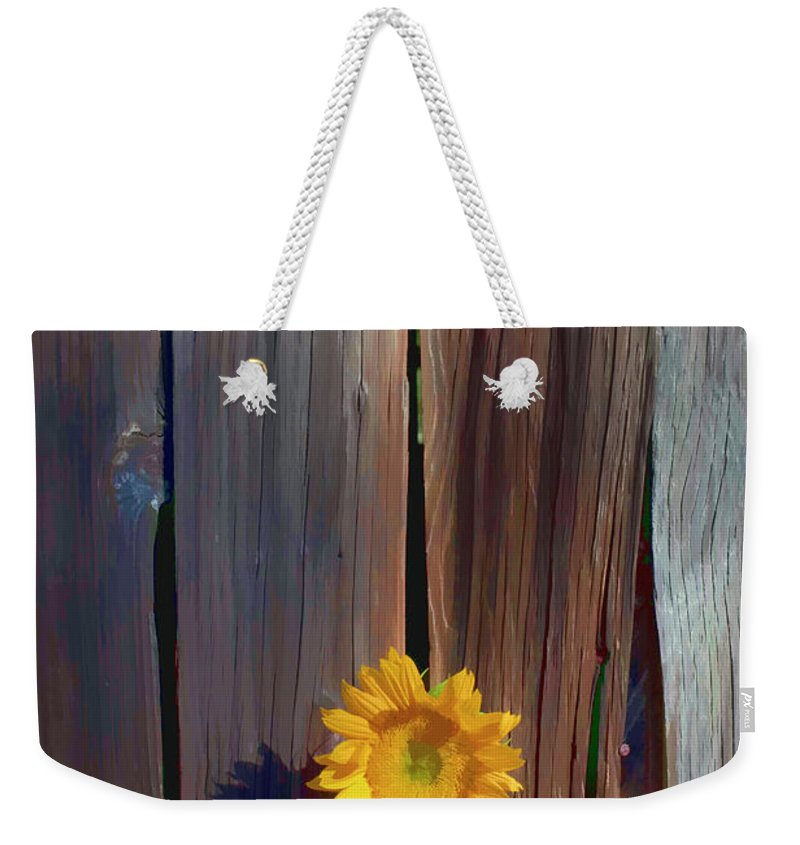 Sunflowers Together Sunflower Weekender Tote Bag featuring the photograph Sunflower In Barn Wood by Garry Gay