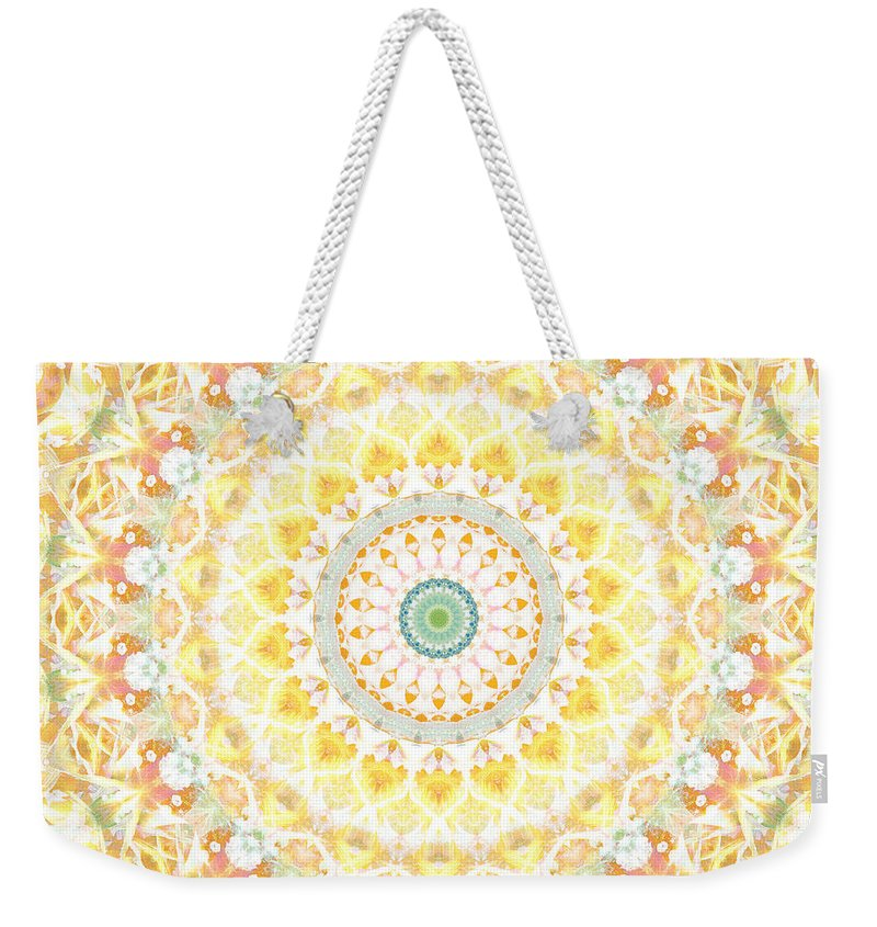 Sunflower Weekender Tote Bag featuring the painting Sunflower Mandala- Abstract Art by Linda Woods by Linda Woods