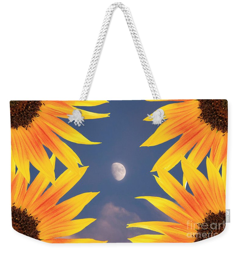 Sunflower Weekender Tote Bag featuring the photograph Sunflower Moon by James BO Insogna