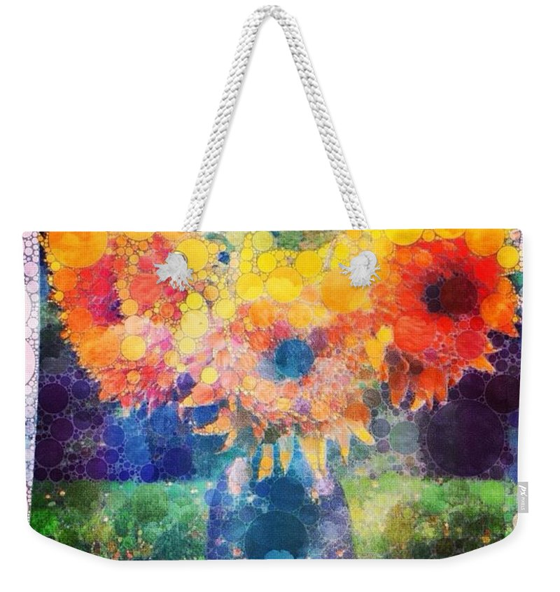 Sunflowers Weekender Tote Bag featuring the digital art Sunflower Mosaic by Mo Barton