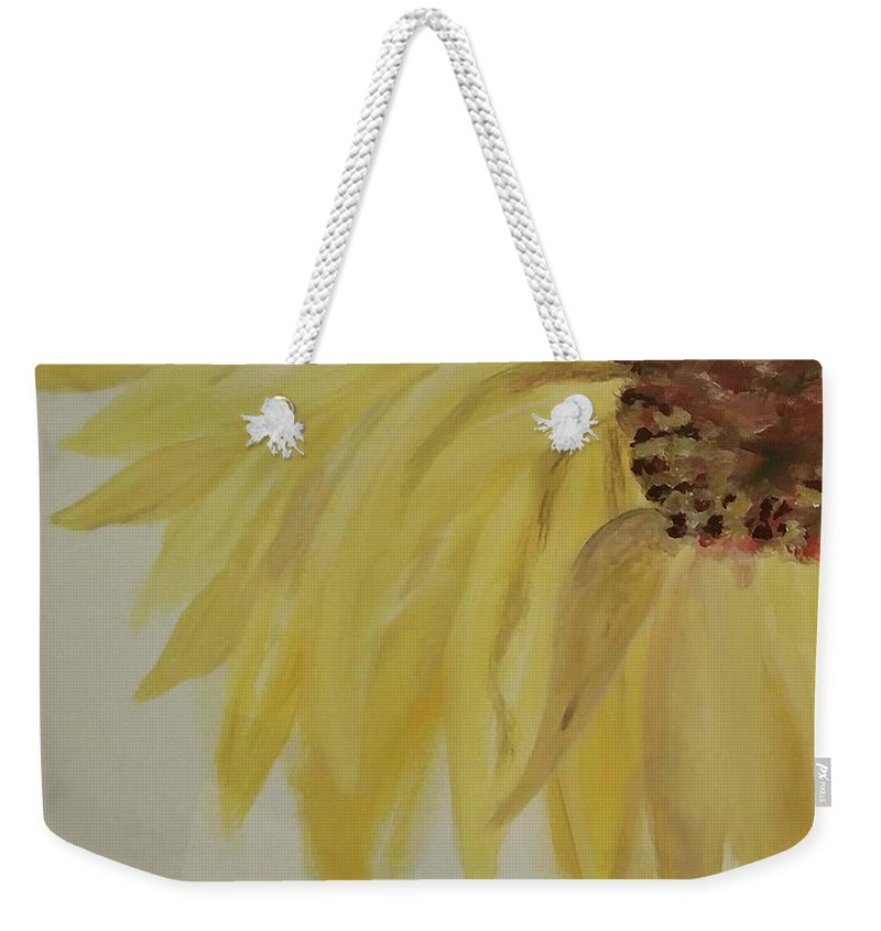 Sunflower Weekender Tote Bag featuring the painting Sunflower Movement by Linda Watson