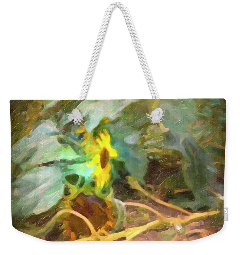 Sunflower Weekender Tote Bag featuring the photograph sunflower No. 9 by Susan Crowell