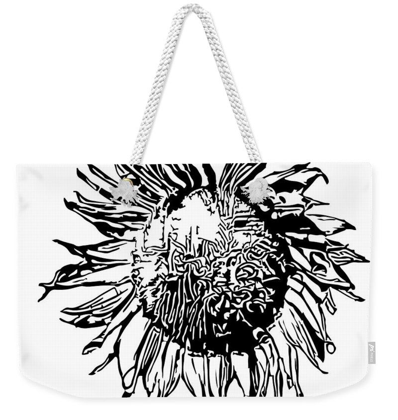 Sunflower Weekender Tote Bag featuring the digital art Sunflower Silhouette by Miroslav Nemecek