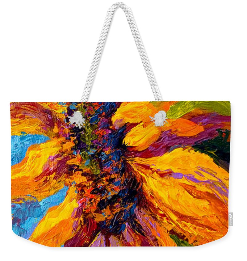Sunflowers Weekender Tote Bag featuring the painting Sunflower Solo II by Marion Rose