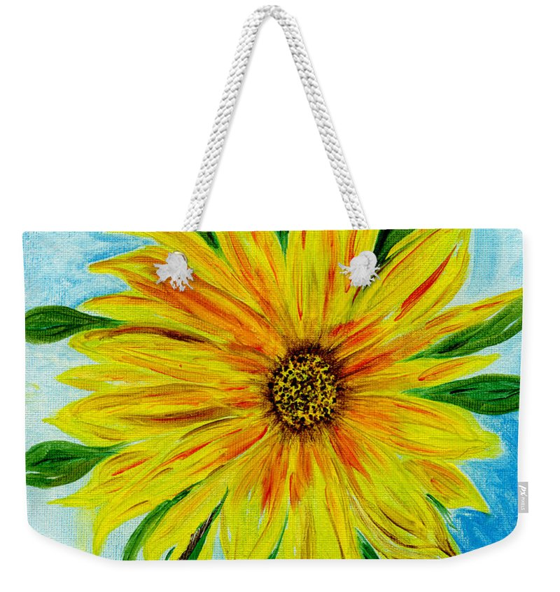 Sunflower Weekender Tote Bag featuring the painting Sunflower Sunshine Of Your Love by Anne Gitto