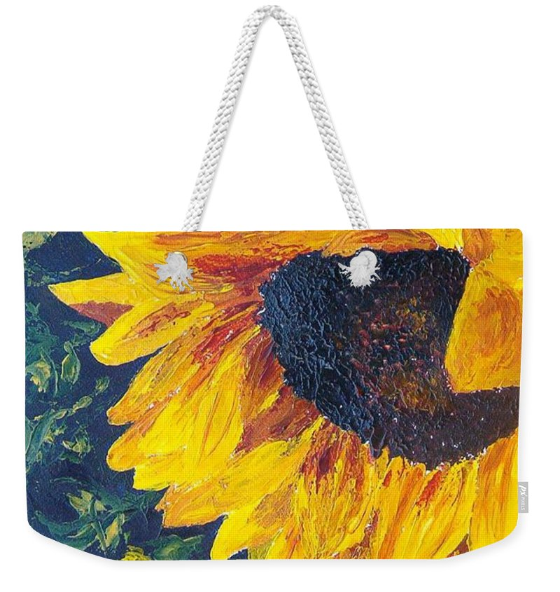 Weekender Tote Bag featuring the painting Sunflower by Tami Booher