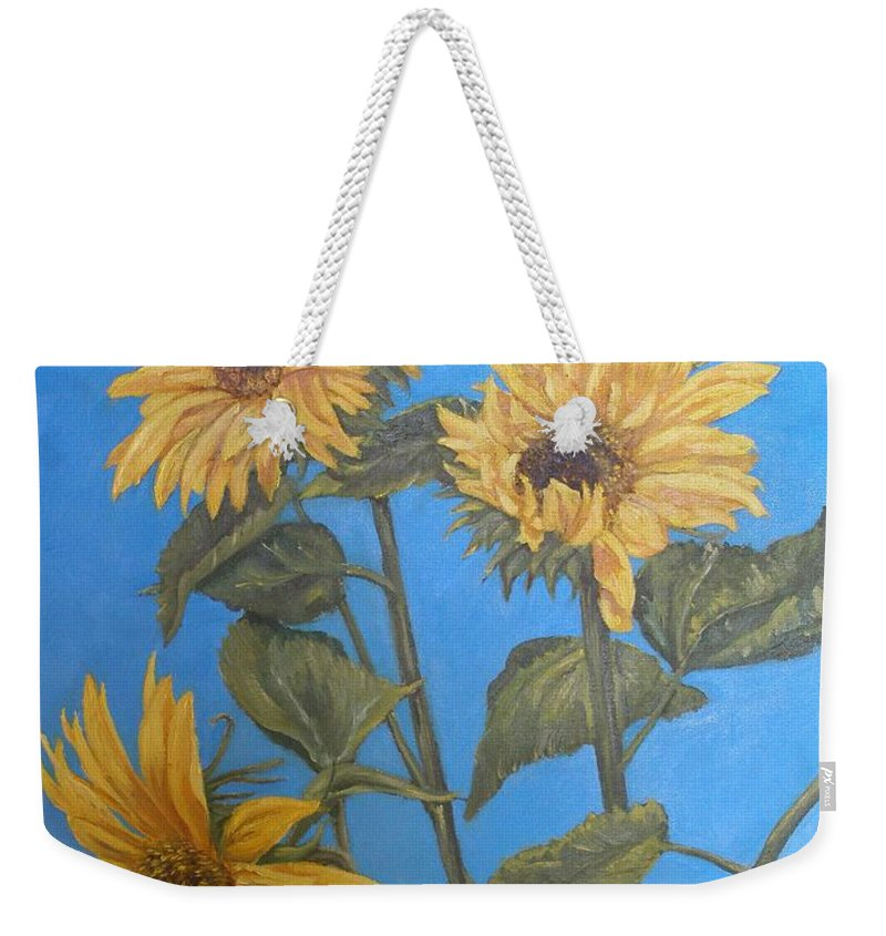 Sunflower Weekender Tote Bag featuring the painting Sunflower by Travis Day