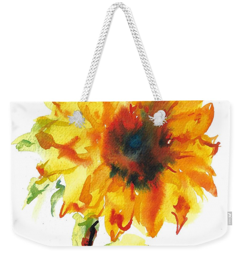 Floral Weekender Tote Bag featuring the painting Sunflower With Blues by Jacki Kellum