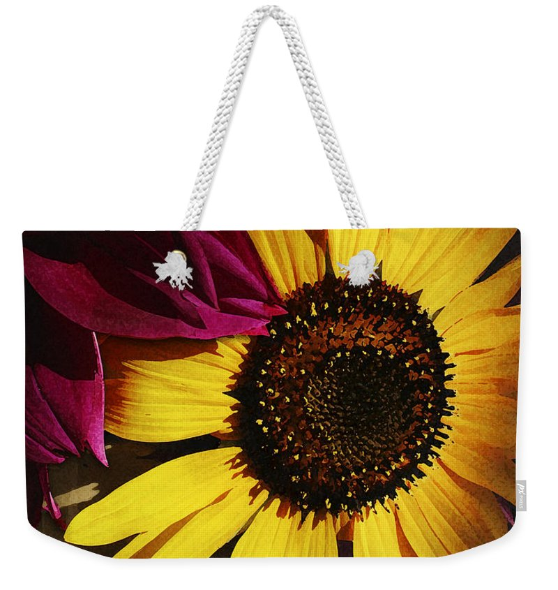 Flower Weekender Tote Bag featuring the photograph Sunflower With Dahlia by Ed A Gage