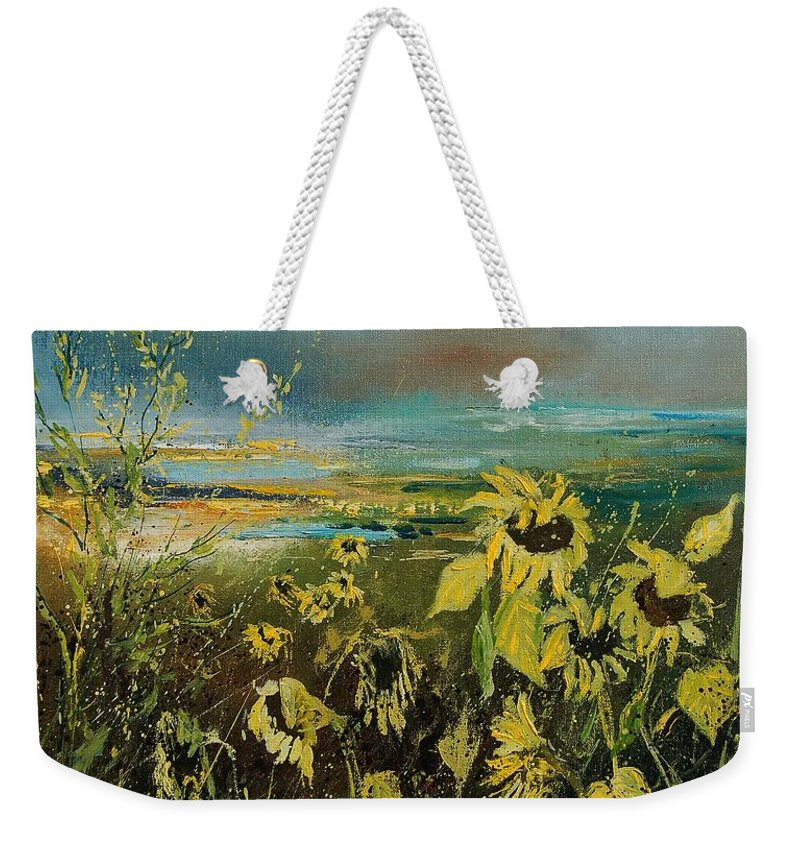 Flowers Weekender Tote Bag featuring the painting Sunflowers 562315 by Pol Ledent