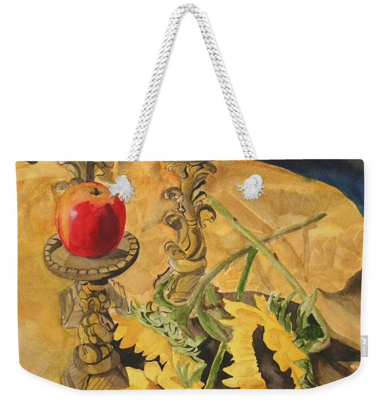 Still Life Weekender Tote Bag featuring the painting Sunflowers And Apples by Jean Blackmer