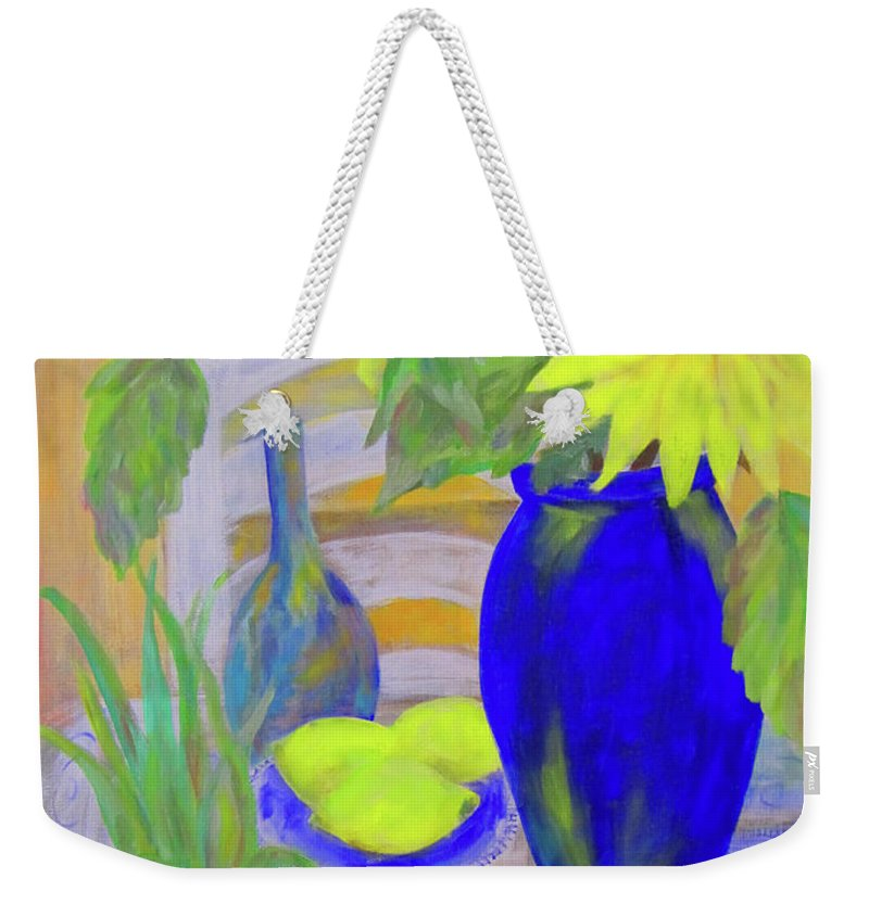 Kitchen Weekender Tote Bag featuring the painting Sunflowers And Lemons by Linda Watson