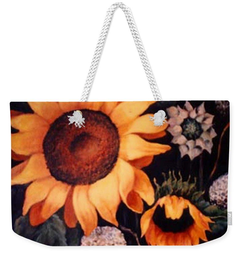 Sunflowers Paintings Weekender Tote Bag featuring the painting Sunflowers and more sunflowers by Jordana Sands