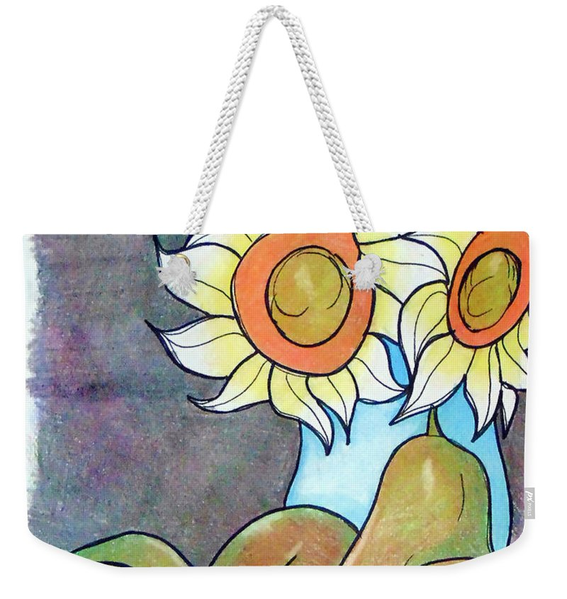 Sunflowers Weekender Tote Bag featuring the drawing Sunflowers And Pears by Loretta Nash