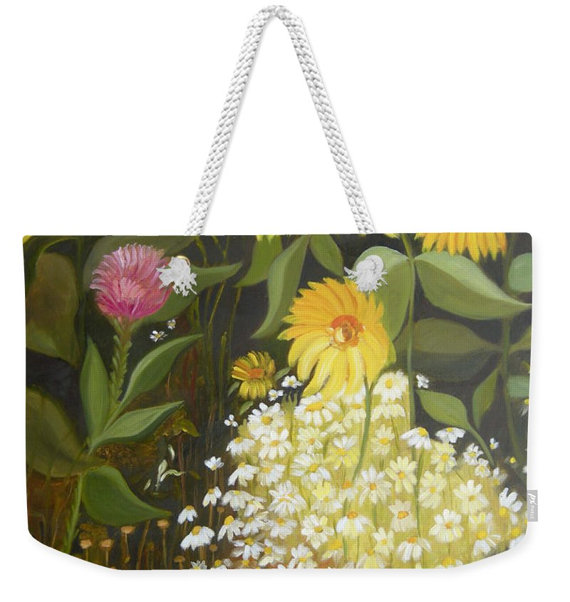 Landskape Weekender Tote Bag featuring the painting Sunflowers by Antoaneta Melnikova- Hillman