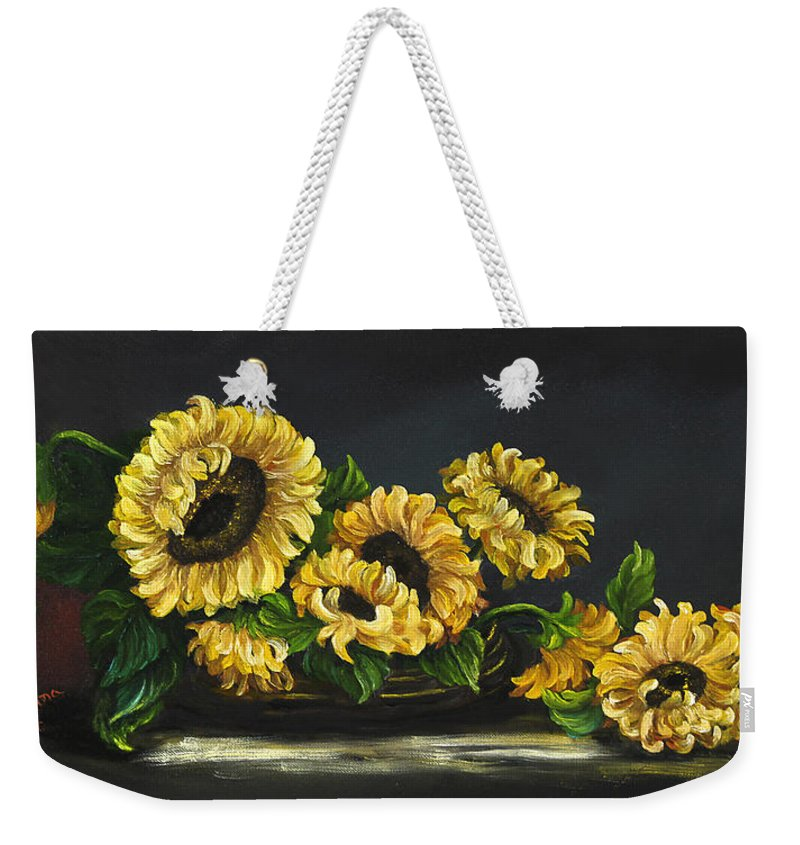 Flower Weekender Tote Bag featuring the painting Sunflowers From The Garden by Johanna Lerwick