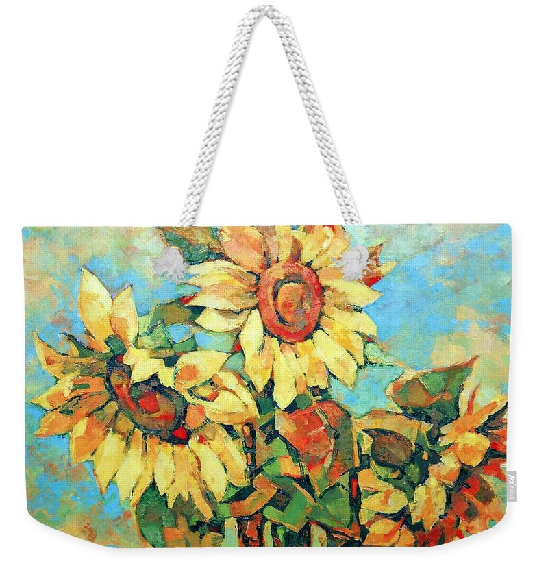 Sunflowers Weekender Tote Bag featuring the painting Sunflowers by Iliyan Bozhanov