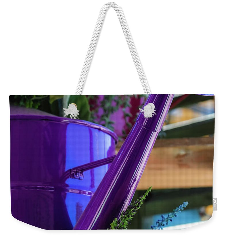 Sunflowers Weekender Tote Bag featuring the photograph Complementary Sunflowers by Laura Roberts