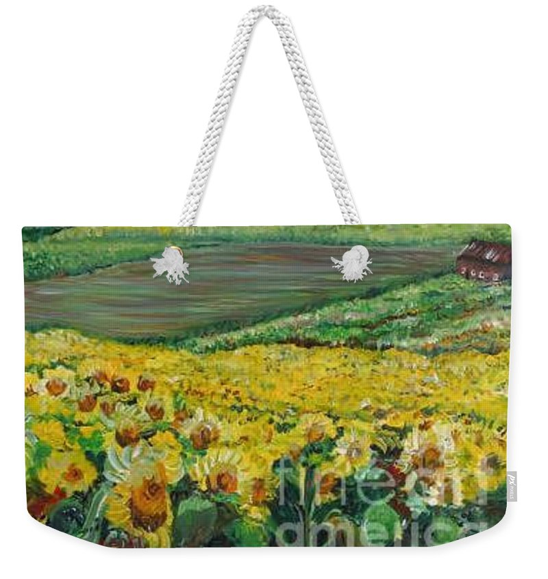 A Field Of Yellow Sunflowers Weekender Tote Bag featuring the painting Sunflowers In Provence by Nadine Rippelmeyer