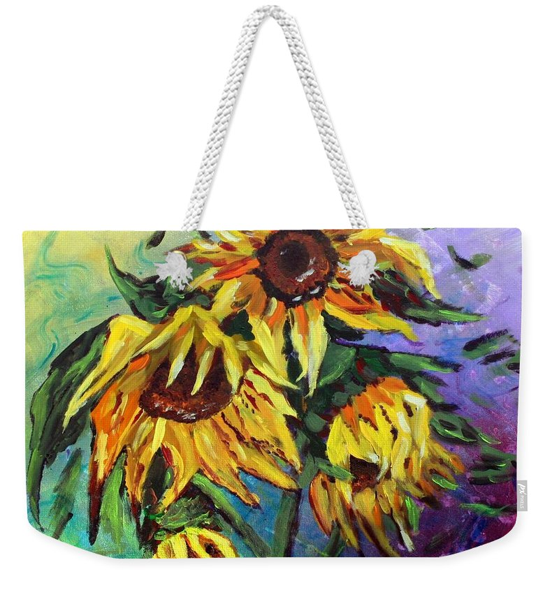 Art Weekender Tote Bag featuring the painting Sunflowers In The Rain by Luiza Vizoli