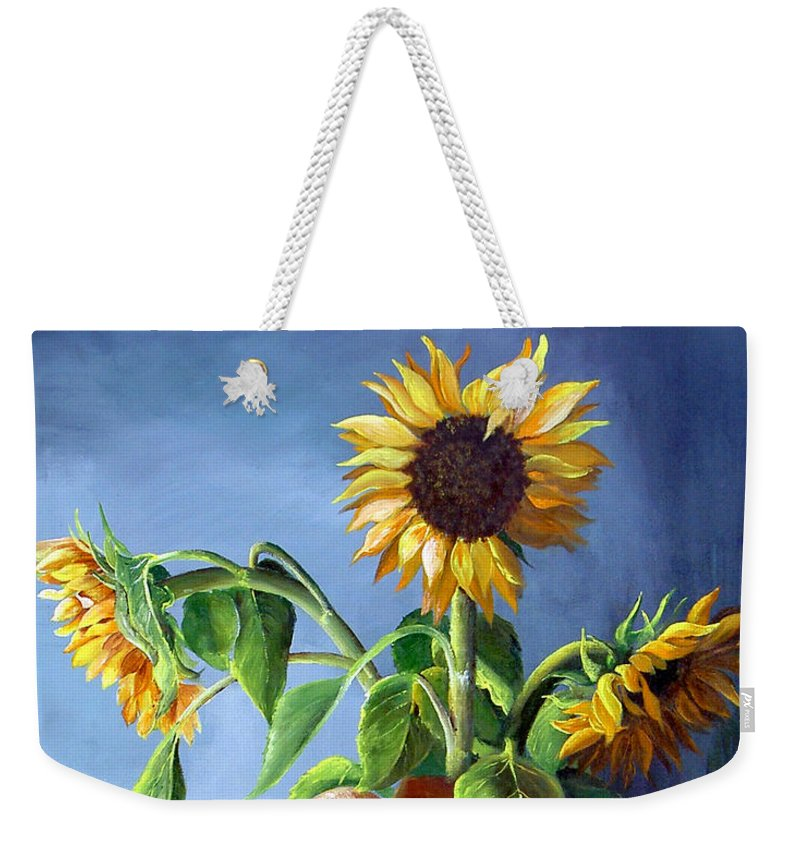 Sunflowers Weekender Tote Bag featuring the painting Sunflowers In Vase by Dominica Alcantara