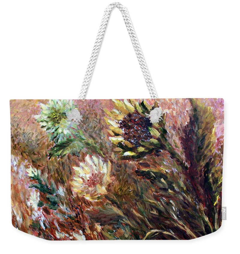 Sunflowers Weekender Tote Bag featuring the painting Sunflowers by Joanne Smoley