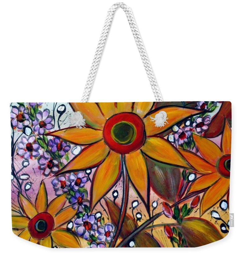 Flowers Weekender Tote Bag featuring the painting Sunflowers by Luiza Vizoli