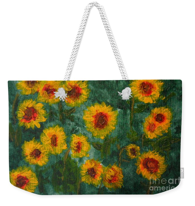 Acrylic Weekender Tote Bag featuring the painting Sunflowers by Lynne Reichhart