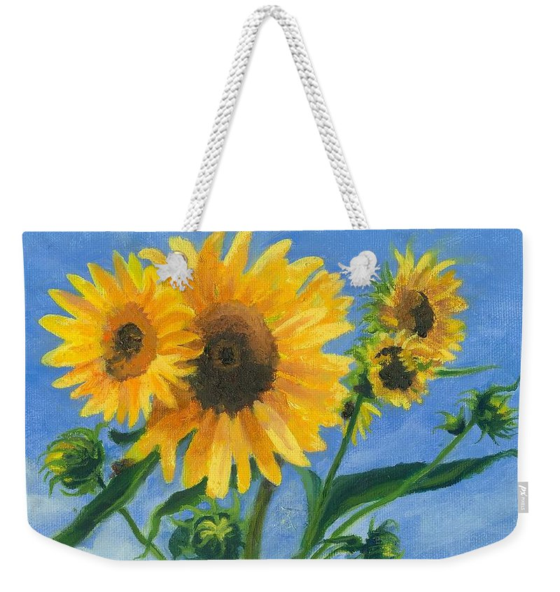 Flowers Weekender Tote Bag featuring the painting Sunflowers On Bauer Farm by Paula Emery