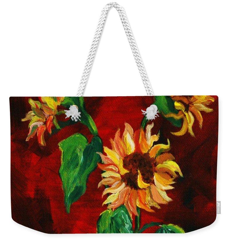 Flowers Weekender Tote Bag featuring the painting Sunflowers On Rojo by Melinda Etzold