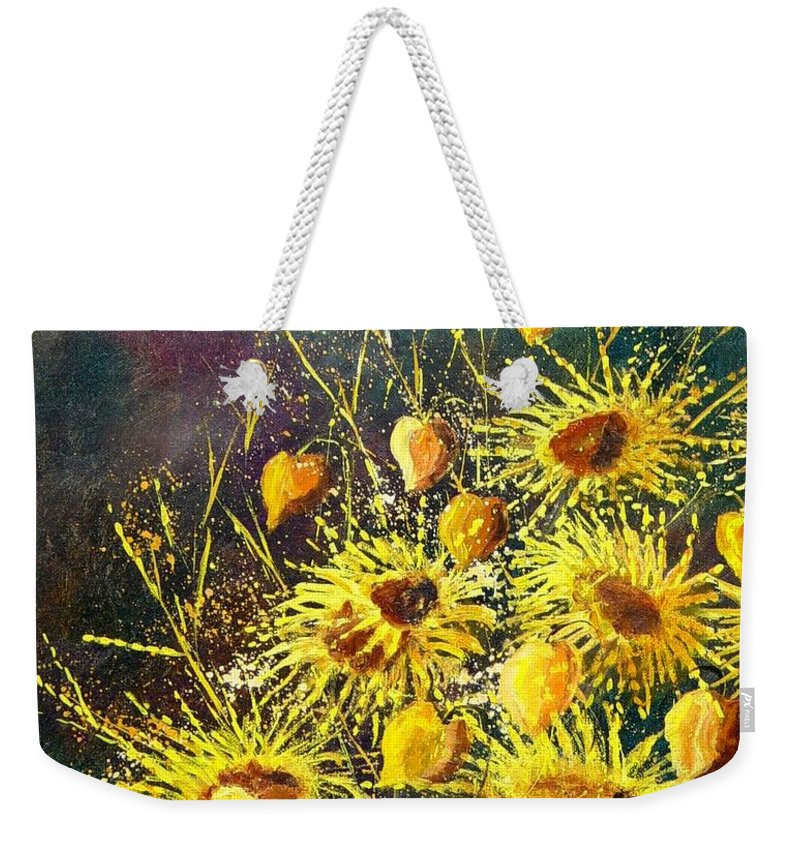 Flowers Weekender Tote Bag featuring the painting Sunflowers by Pol Ledent