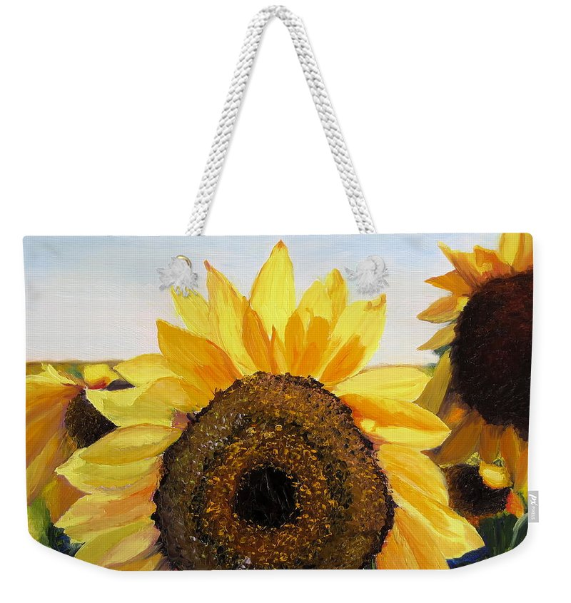 Sunflower Weekender Tote Bag featuring the painting Sunflowers Squared by Lea Novak