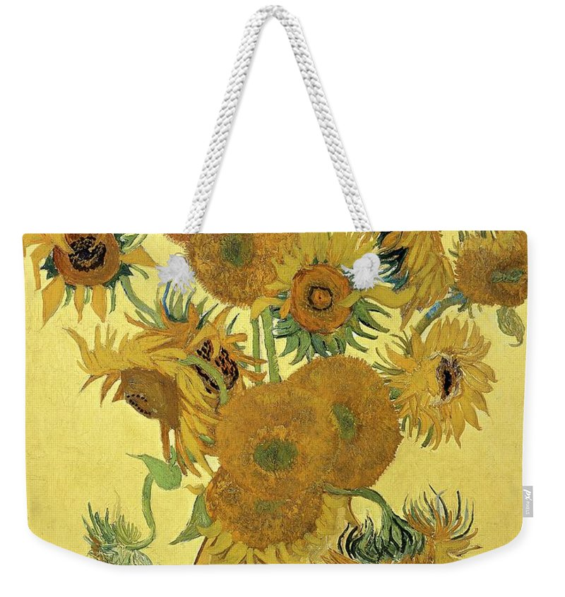 Sunflowers Weekender Tote Bag featuring the painting Sunflowers, 1888 by Vincent Van Gogh