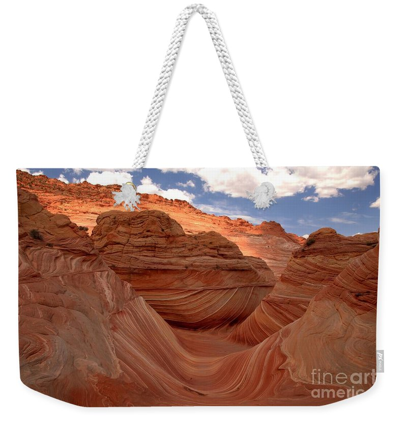 The Wave Weekender Tote Bag featuring the photograph Sunkiss At Coyote Buttes by Adam Jewell