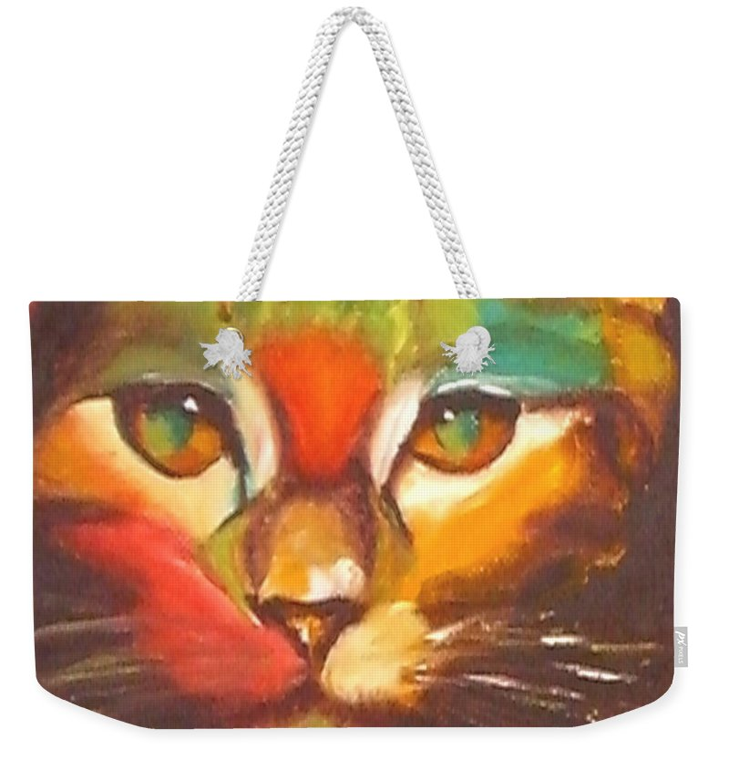 Cat Weekender Tote Bag featuring the painting Sunkist by Susan A Becker