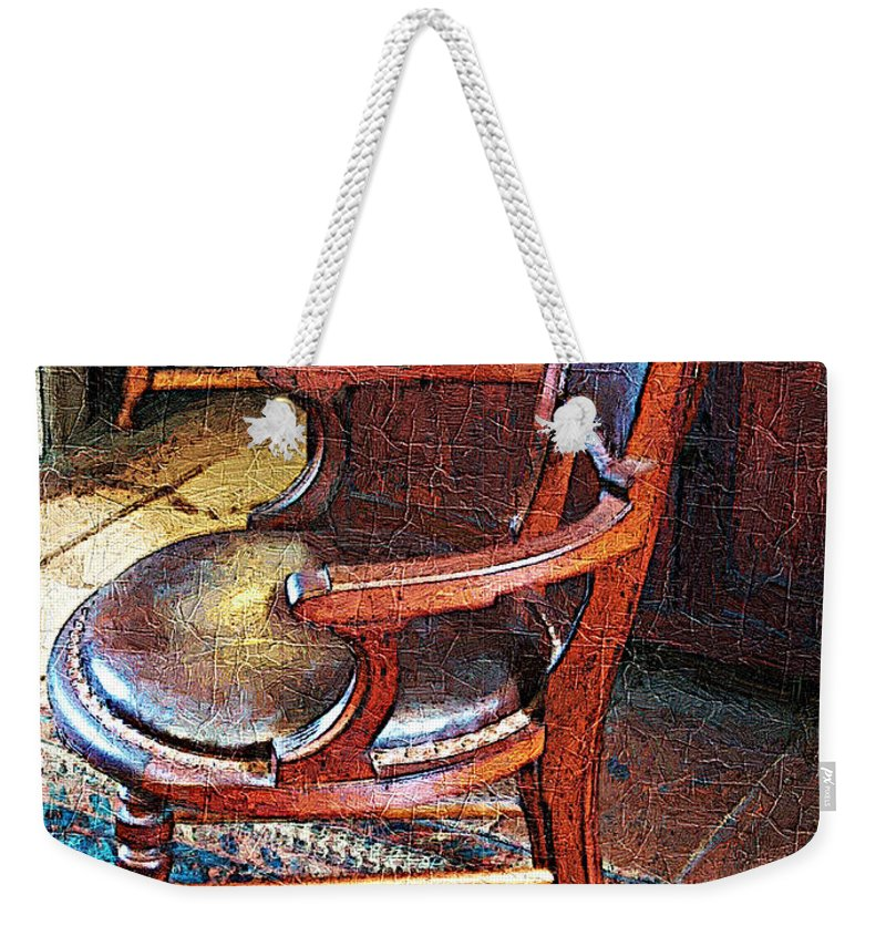 Antiques Weekender Tote Bag featuring the digital art Sunlight On Leather Chair by RC DeWinter