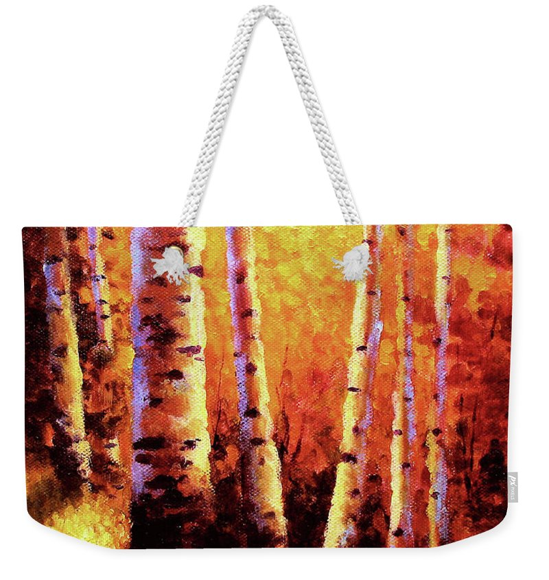 Sunlight Weekender Tote Bag featuring the painting Sunlight Through The Aspens by David G Paul