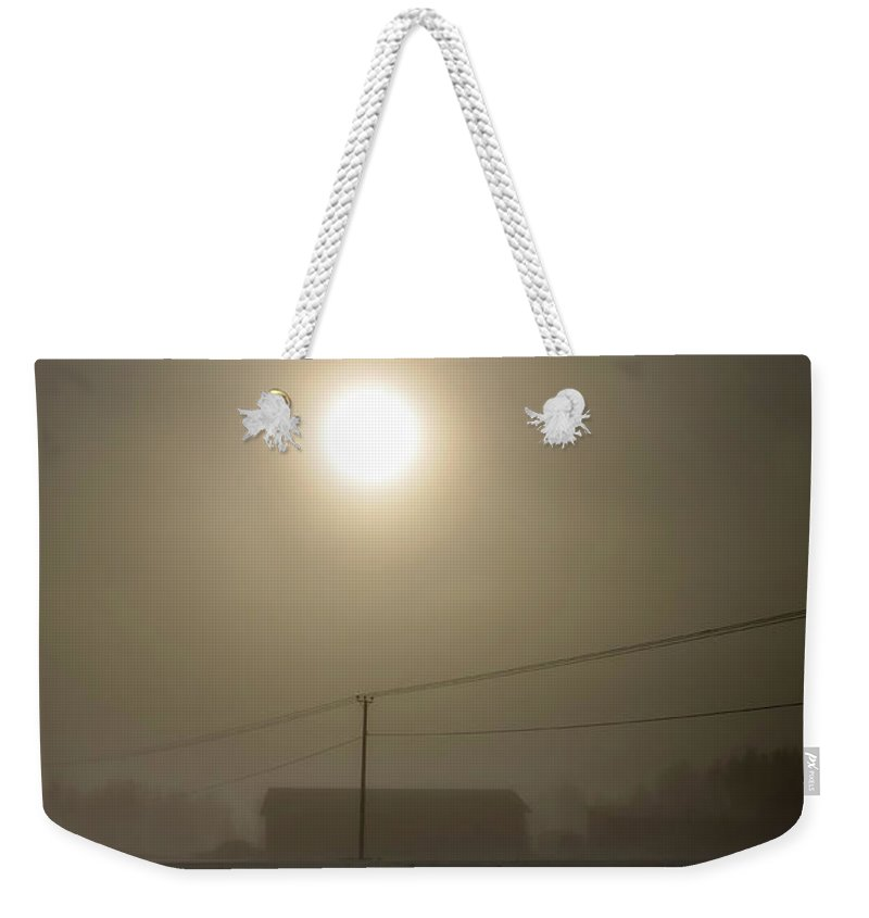 Copy Space Weekender Tote Bag featuring the photograph Sunlight Through The Mist by Jukka Heinovirta