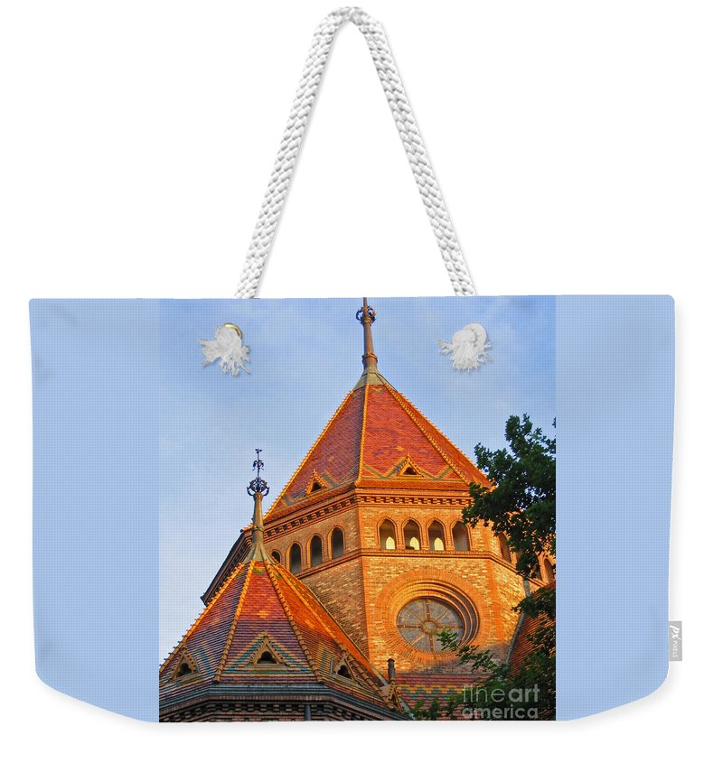 Budapest Weekender Tote Bag featuring the photograph Sunlit Church Aglow by Ann Horn