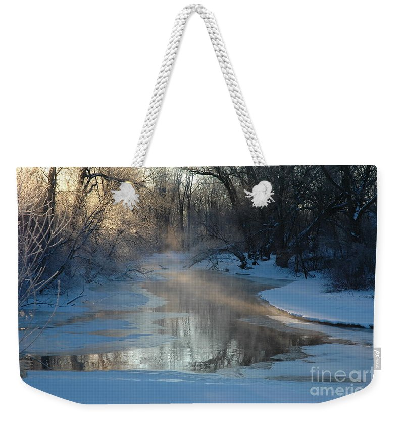 Creek Weekender Tote Bag featuring the photograph Sunlit Creek by Kathy Carlson
