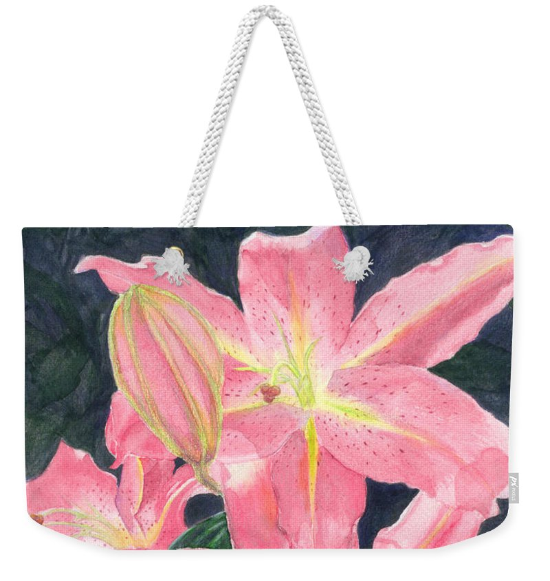 Floral Weekender Tote Bag featuring the painting Sunlit Lilies by Lynn Quinn