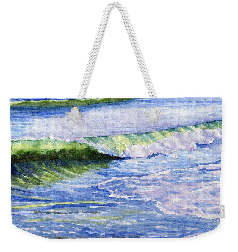 Seascape Weekender Tote Bag featuring the painting Sunlit Surf by Sharon E Allen