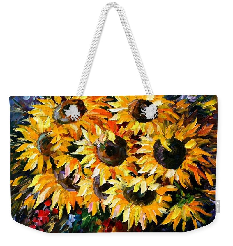 Floral Weekender Tote Bag featuring the painting Sunny Bouquet by Leonid Afremov